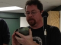 Sean Carson with green soapstone turning